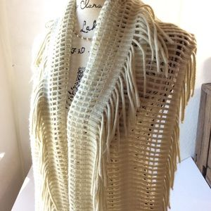 Accessories - Beige Open Weave Fringe Soft Infinity Scarf OS